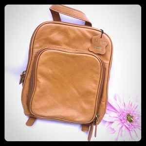 Margot Leather Backpack Purse: Cognac Brown